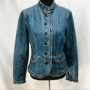 Dress Barn Jean Jacket With Beaded Buttons